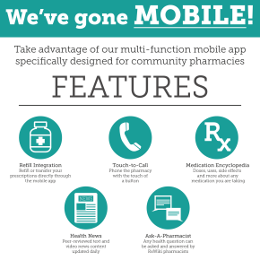Refill your prescription with your Smartphone. Download our Mobile App Today.